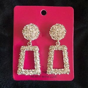 Ultra Glam Sparkle Texture Rose Gold Earrings